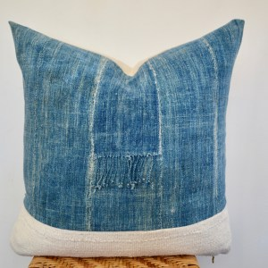 vintage indigo + white mudcloth + a bit of fringe pillow