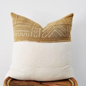 mustard + white mudcloth pillow