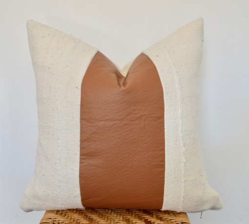 faux leather + white mudcloth pillow