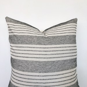 vintage black and white fabric pillow
