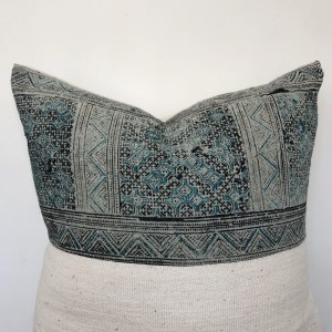 turquoise hemp & white mudcloth pillow