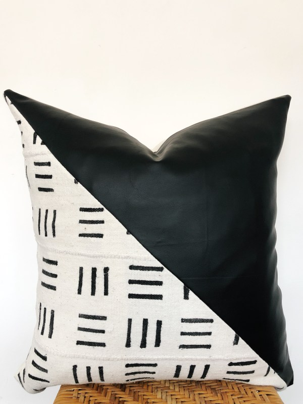 mudcloth and faux leather pillow