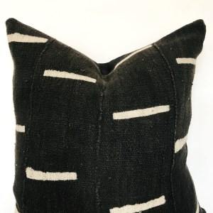 black with stripes mudcloth pillow