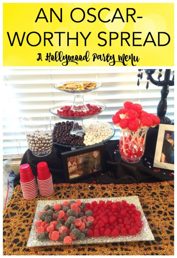 """I recently hosted a Hollywood themed Murder Mystery party, and I'm here to share some of my planning tips. For décor ideas, tips, and tricks, check out """"Dazzling the Stars – Hollywood Themed Party Décor"""", or for mystery ideas check out Night of Mystery. I had so much fun putting this party together and you can too! Read on for my easy and fun Hollywood party menu ideas."""