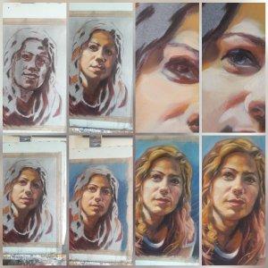 Alla prima portraits – progress pictures
