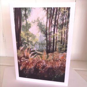 Woodland bracken greetings card