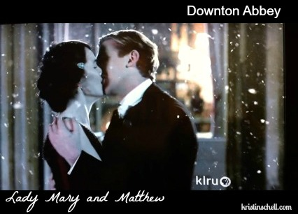 Lady Mary and Matthew Crawley kiss on Downton Abbey