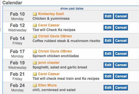 Meal Train Calendar