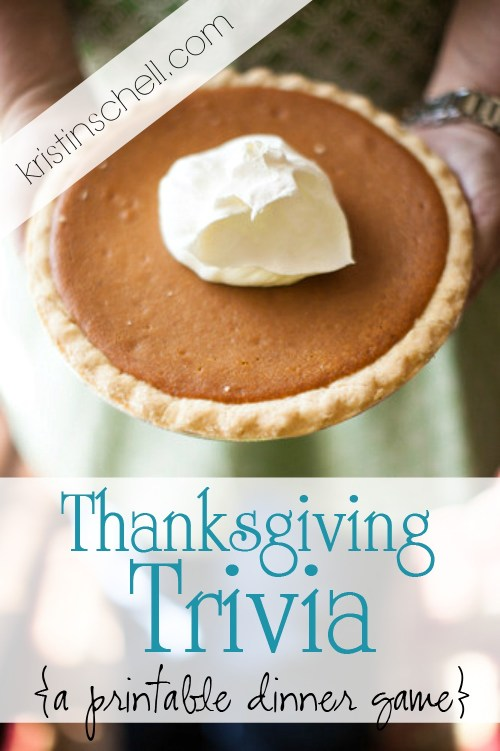 Thanksgiving Trivia - a printable dinner game