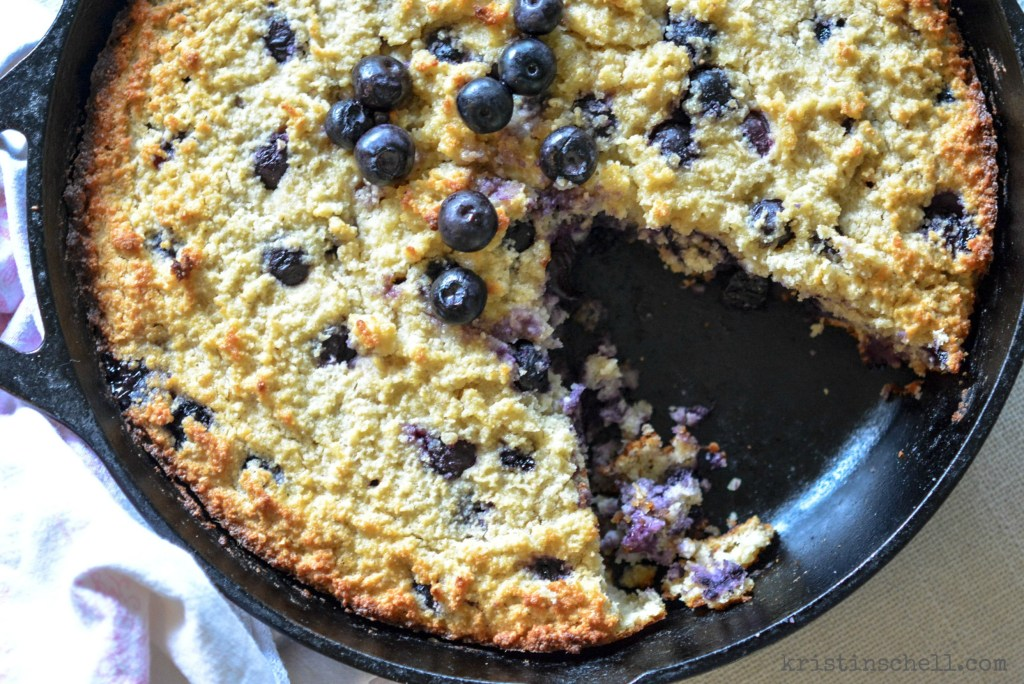 Delicious blueberry breakfast skillet cake -- they'll never know it's gluten and grain free! kristinschell.com