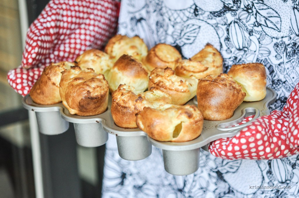 Festive for the holidays, but simple enough for a casual weekend supper. Popover rolls are everyone's favorite. Serve warm, straight out of the oven. IF you have any left over, popovers make delicious breakfast with jam or syrup. kristinschell.com