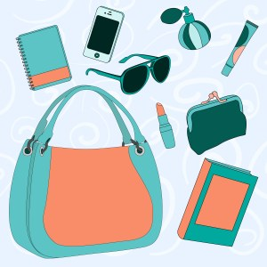 female bag with its contents: sunglasses, perfume, notebook, purse, lipstick, lip gloss, phone book