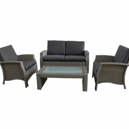 mariano s northlight 32591330 4 piece gray resin wicker outdoor patio furniture set gray cushions 4