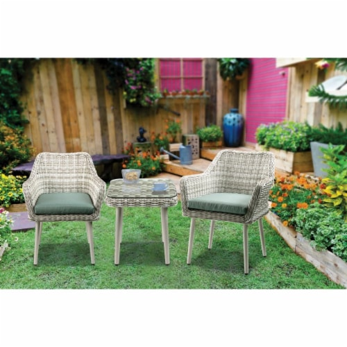 fred meyer resin wicker and metal patio bistro set with two chairs and table beige and green set of 3 1
