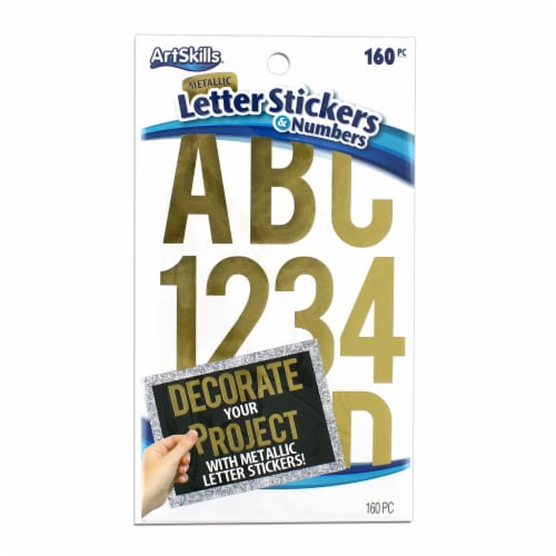 metallic letter numbers stickers