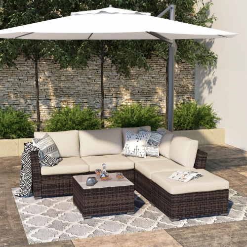 fry s food stores kumo outdoor sectional sofa 4 piece wicker patio furniture with waterproof cover 4 pieces