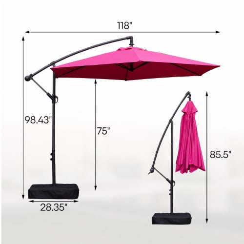 kumo 10 ft patio umbrella outdoor with base market offset umbrella for garden rose red 1 unit