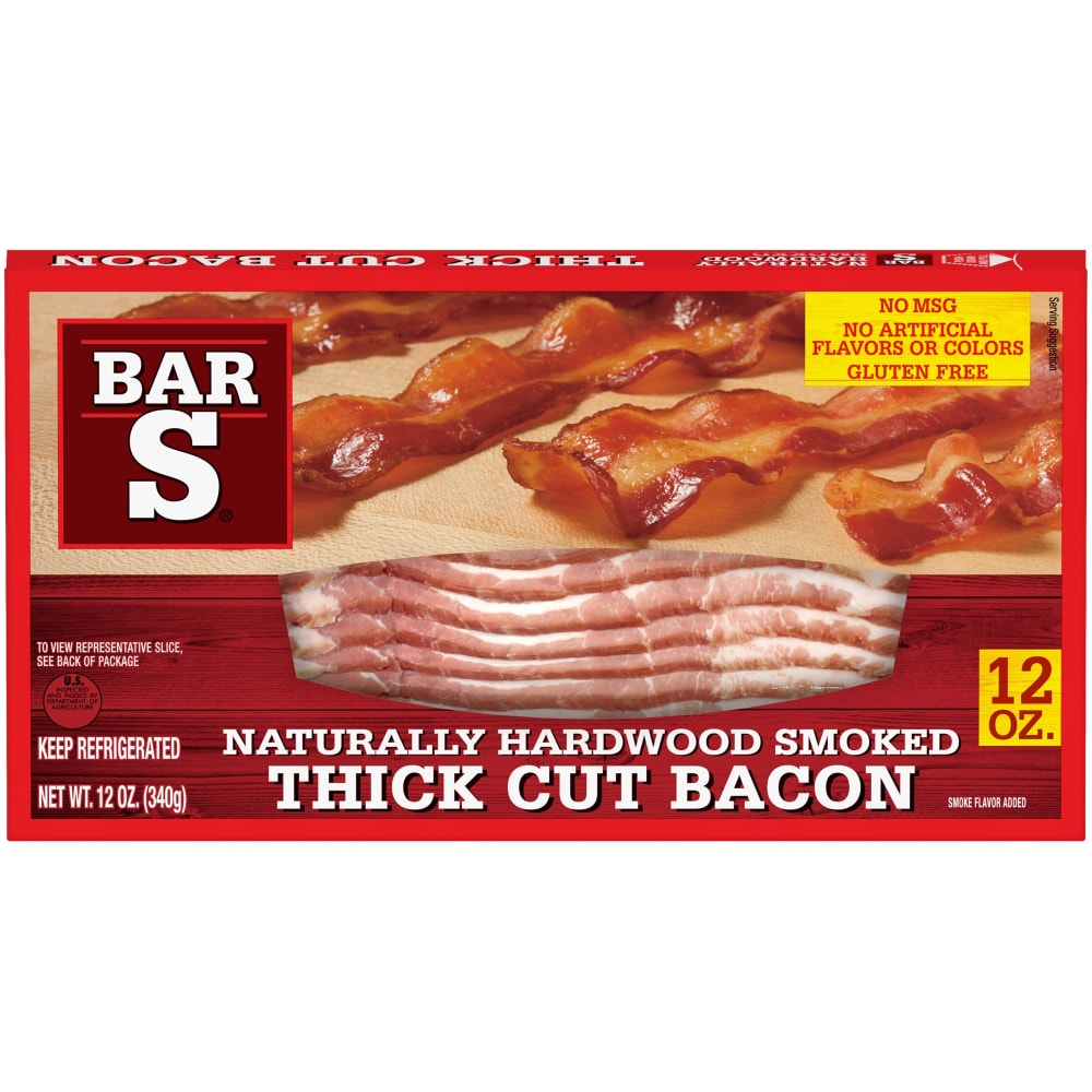 bar s naturally hardwood smoked thick cut bacon 12 oz