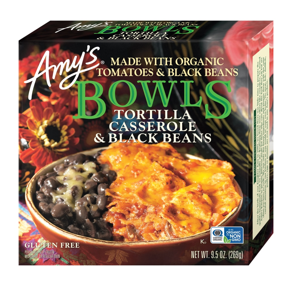 amy s tortilla casserole black beans bowl frozen meal 9 5 oz