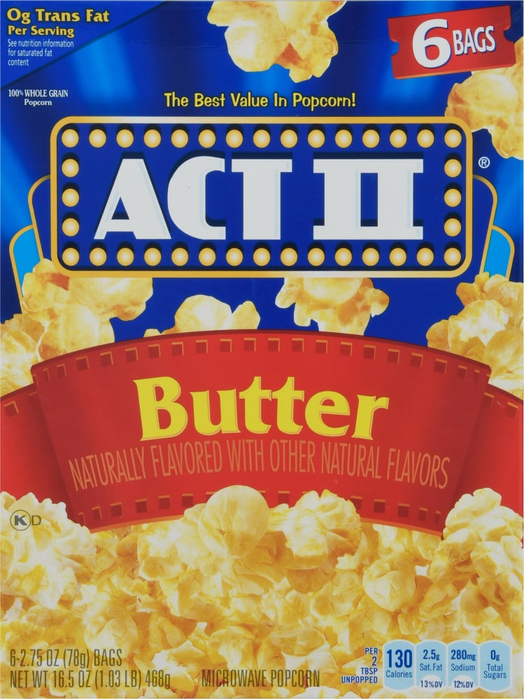 act ii butter microwave popcorn 6 ct 2 75 oz