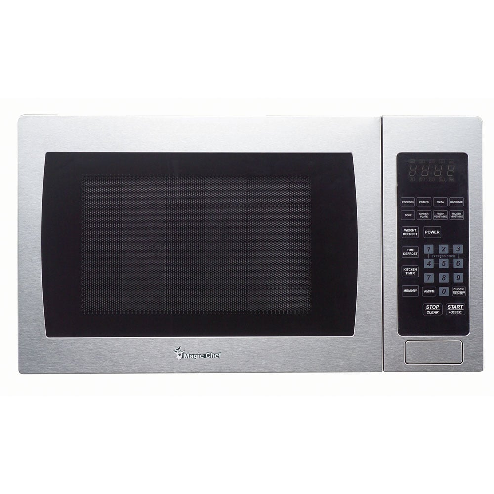 magic chef stainless steel countertop microwave oven silver 0 9 cu ft