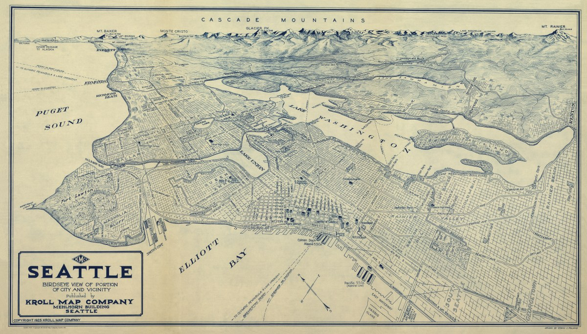 Seattle, Washington 1925 - Kroll Antique Maps