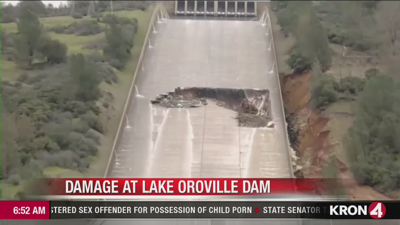 Lake Oroville spillway damaged by storms