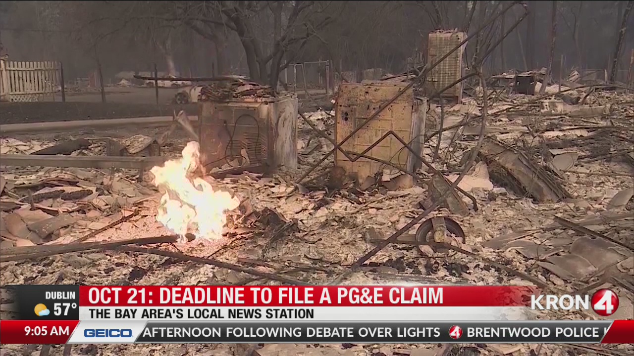 Deadline to file a PG&E claim is Monday