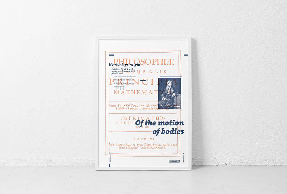 Isaac Newton Principia's book cover poster