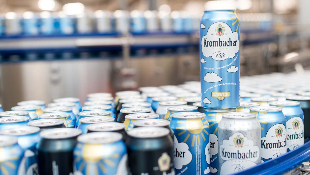 hight resolution of filling cans a premiere for krombacher