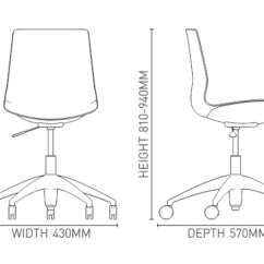 Swivel Chair Dimensions Hon Ignition Fabric Clip S On Castors Krost Business Furniture