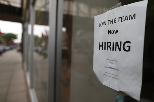 Now Hiring sign in Fargo, ND, r m