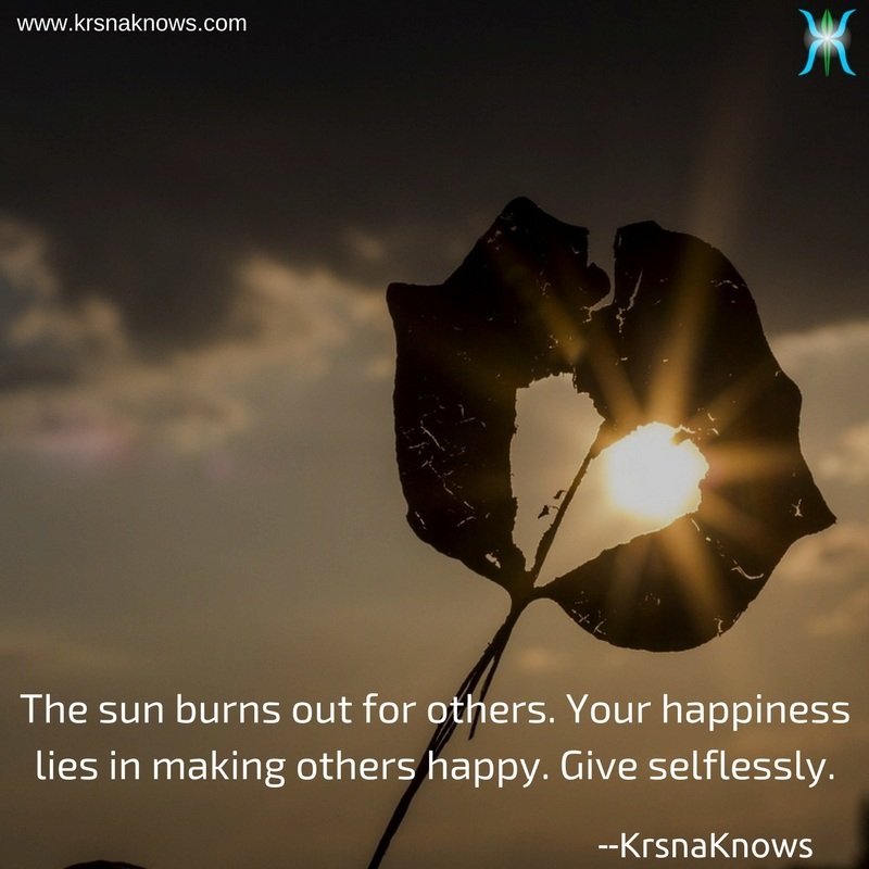 Give selflessly