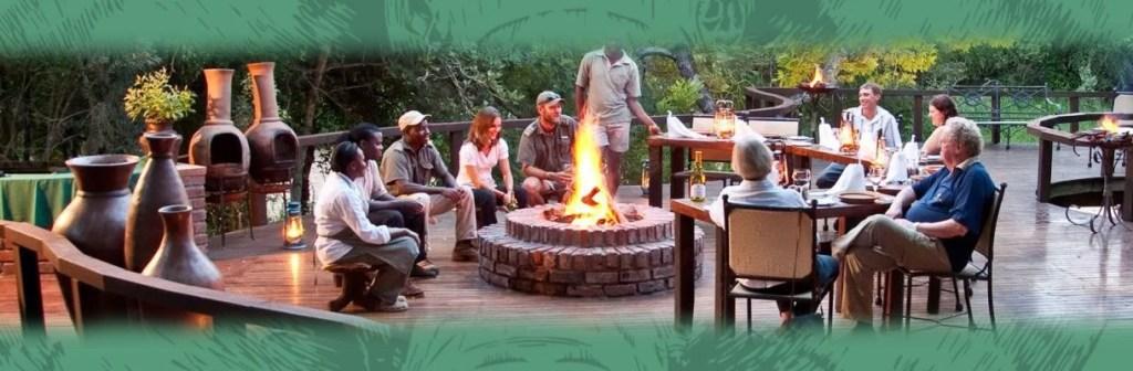 Monwana Game Lodge Boma Deck Fireplace