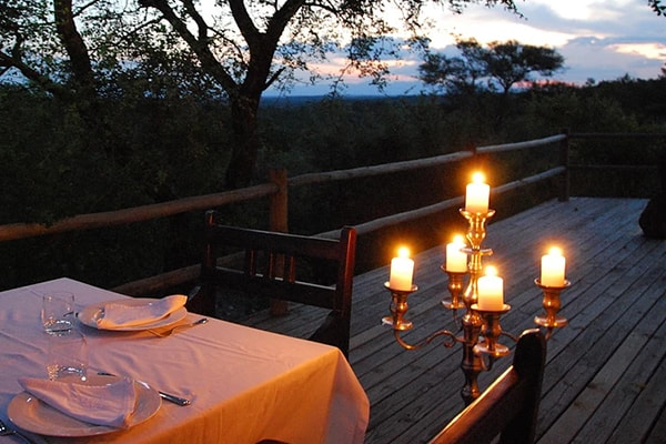 Mbizi Bush Lodge Evening Dining