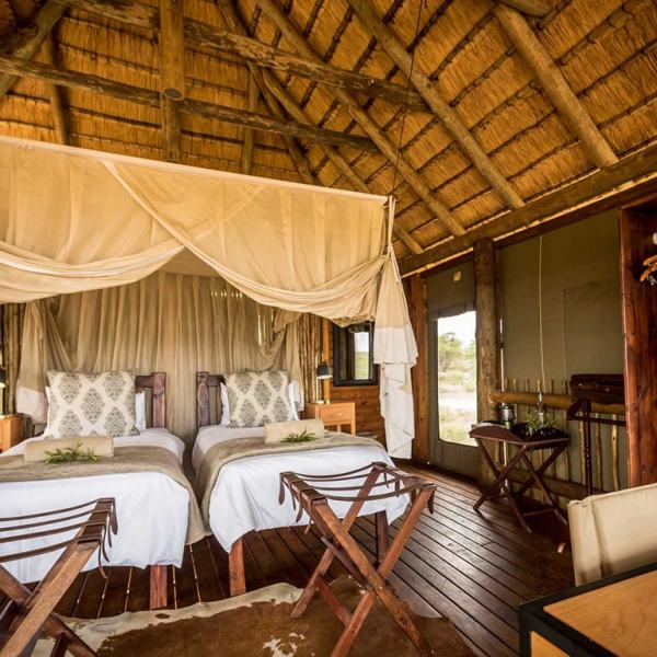 nThambo Tree Camp Treehouse Chalet Twin Beds