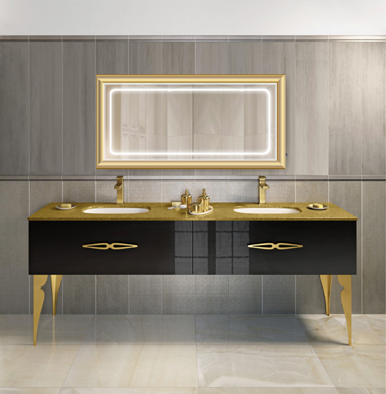 LED Lighted 60 Inch x 30 Inch Bathroom Gold Frame Mirror