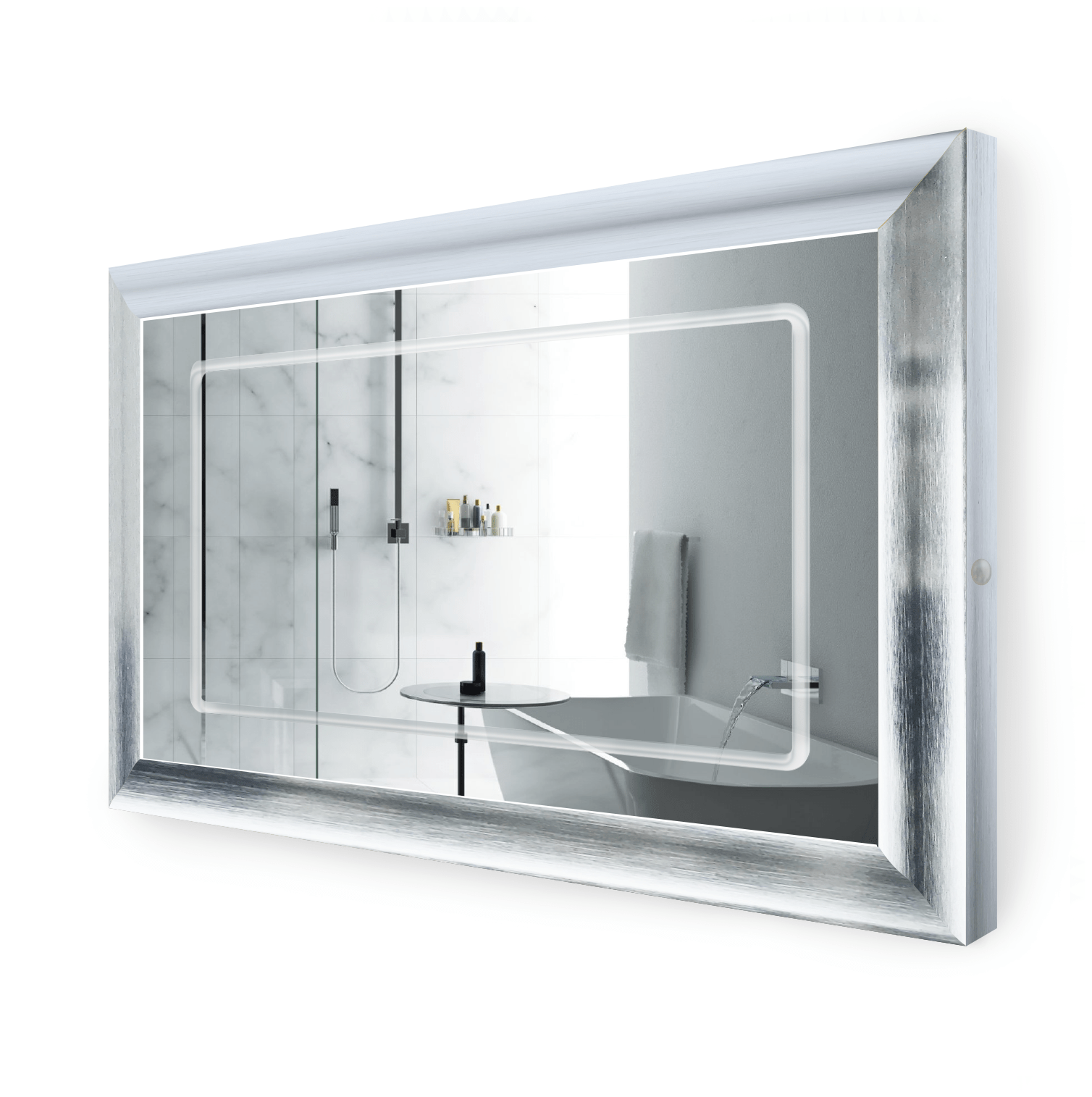 LED Lighted 48 Inch x 30 Inch Bathroom Silver Frame Mirror