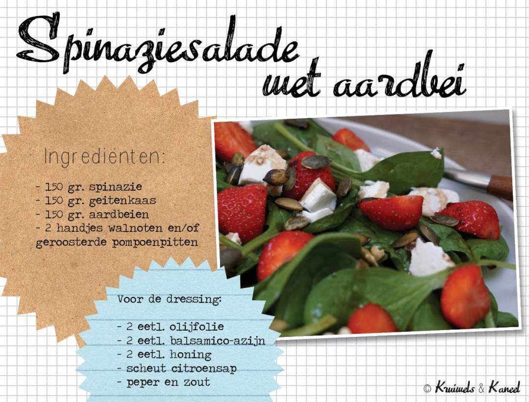 spinaziesalade met aardbei