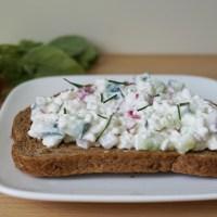 Boterhamtaartje: huttenkaas met radijs en komkommer