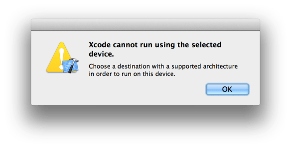 Xcode cannot run using the selected device
