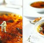 little people wearing hazmat suits trying to find radioactive material on top of a creme brulee