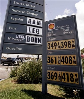 gasoline prices - arm, leg, or first born