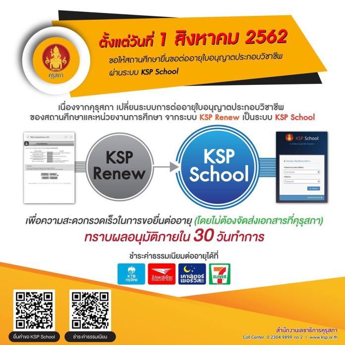 การขอต่อใบอนุญาตประกอบวิชาชีพของคุรุสภา ผ่านระบบ KSP SCHOOL ผู้บริหารและคุณครู