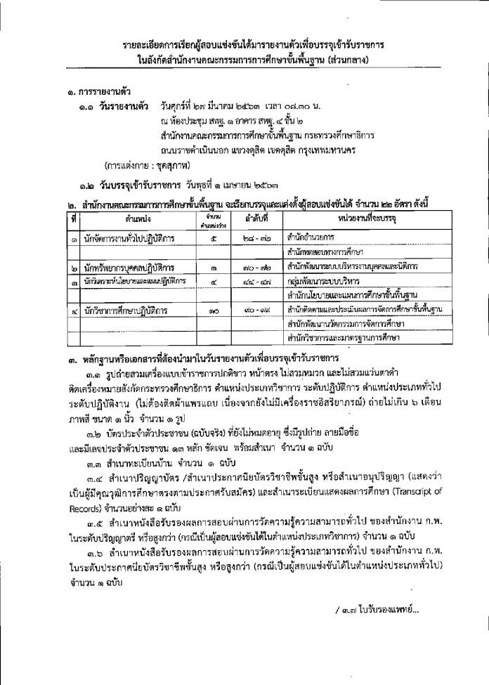 สพฐ. (ส่วนกลาง) เรียกบรรจุ ข้าราชการ จำนวน 4 ตำแหน่ง รวม 22 อัตรา รายงานตัว 27 มี.ค. นี้