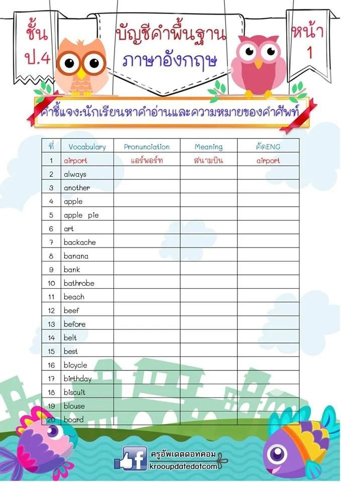 ตัวอย่างรูปเล่มสมุดเล่มเล็กบัญชีคำพื้นฐานภาษาอังกฤษของนักเรียนชั้น ป.4