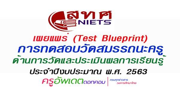 (Test Blueprint)  การทดสอบวัดสมรรถนะครู ด้านการวัดและประเมินผลการเรียนรู้  ประจําปีงบประมาณ พ.ศ. 2563