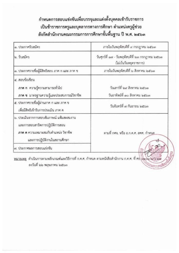 กศจ.ลพบุรี ประกาศผลสอบครูผู้ช่วย 2563 ผู้สอบผ่าน ภาค ก ภาค ข มีสิทธิ์เข้าสอบ ภาค ค