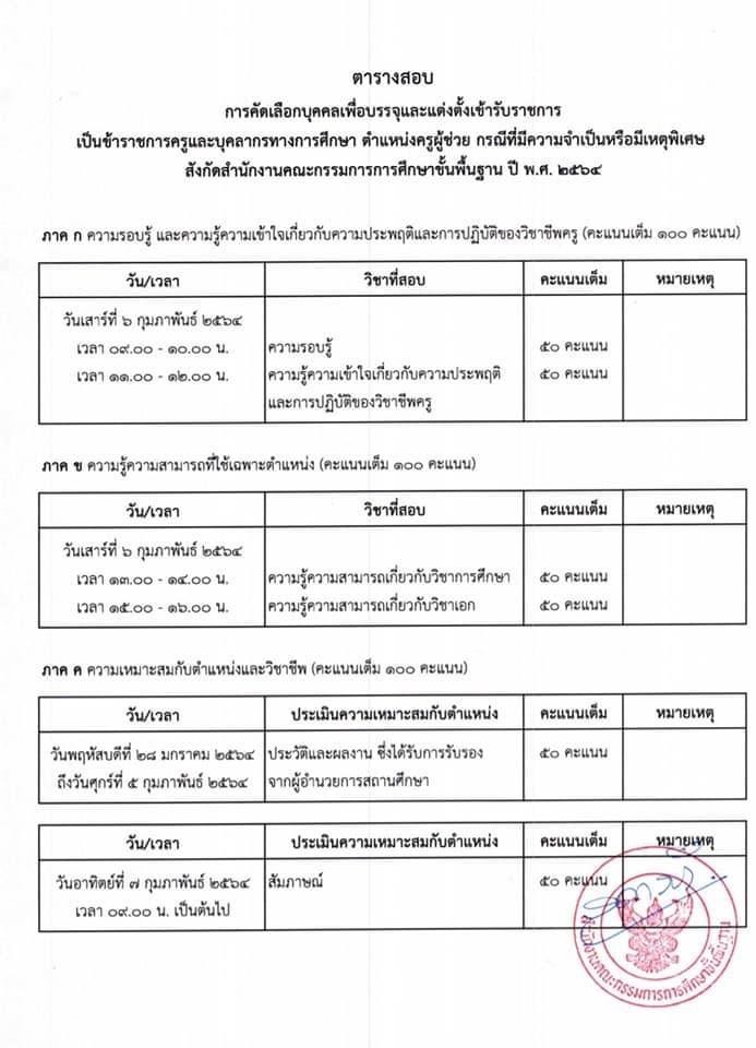 กำหนดการสอบ ตารางสอบ ครูผู้ช่วย กรณีพิเศษ สพฐ. ปี 2564