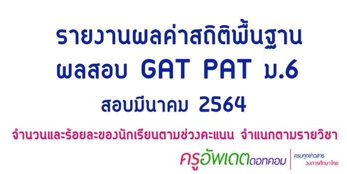 สรุป ผลสอบ gat pat สอบ 2564 ดูผลสอบ gat pat ม.6-01-01